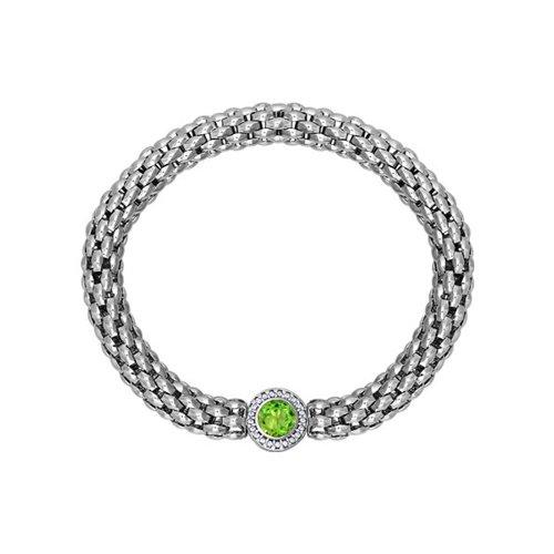 Широкий серебряный браслет с хризолитом