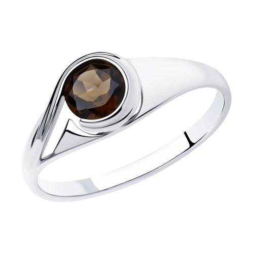 Кольцо из серебра с раухтопазом (92011836) - фото