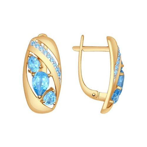 Серьги из золота с голубыми топазами и голубыми фианитами