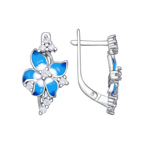 цена на Серьги-цветки с голубой эмалью SOKOLOV