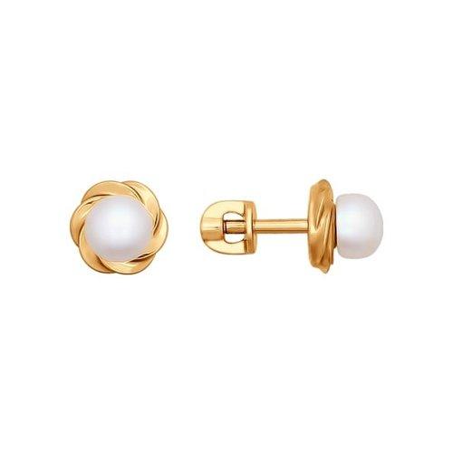 Серьги-пусеты из золота с жемчугом