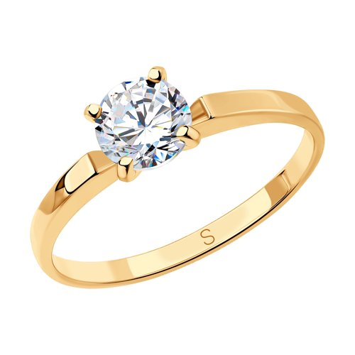 Кольцо из золота с фианитом (018594) - фото