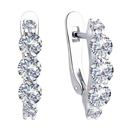 Серьги из серебра с фианитами (94023498) - фото №2