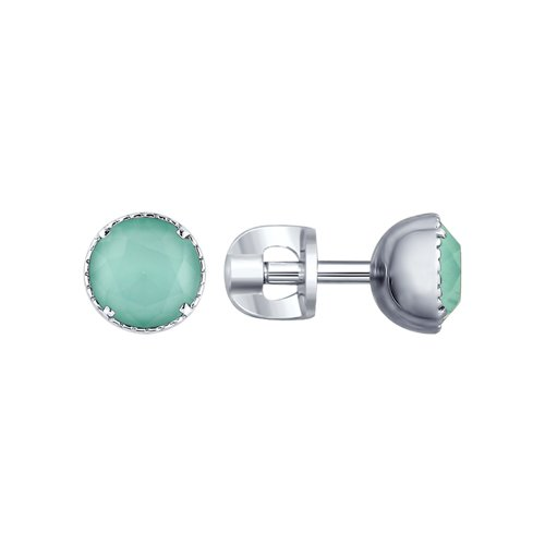 Серьги из серебра с зелеными кристаллами Swarovski (94022661) - фото
