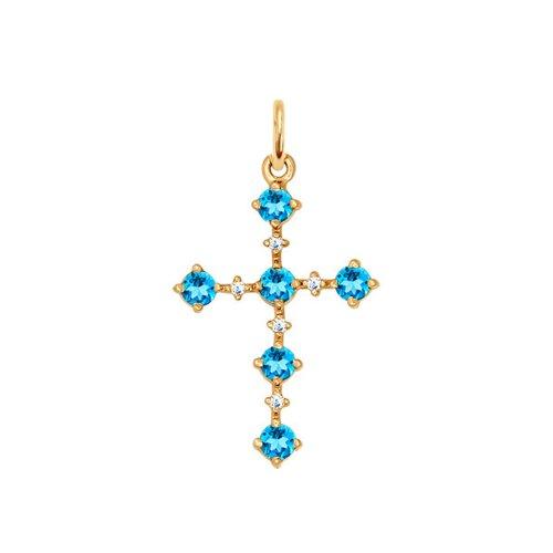 Крестик с топазами (730055) - фото