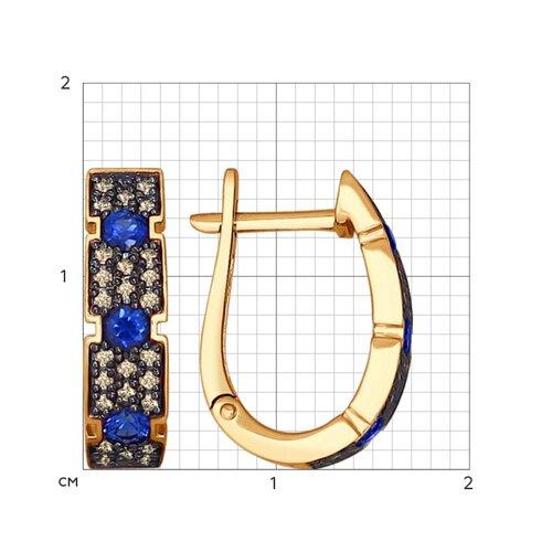 Серьги из золота с коньячными бриллиантами и сапфирами (2020768) - фото №2