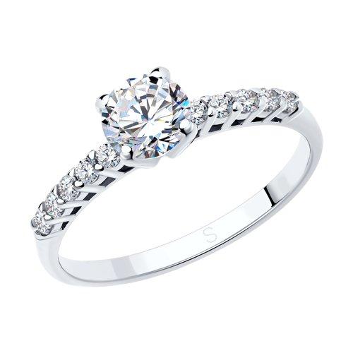 Помолвочное кольцо из серебра с фианитами (94010157) - фото