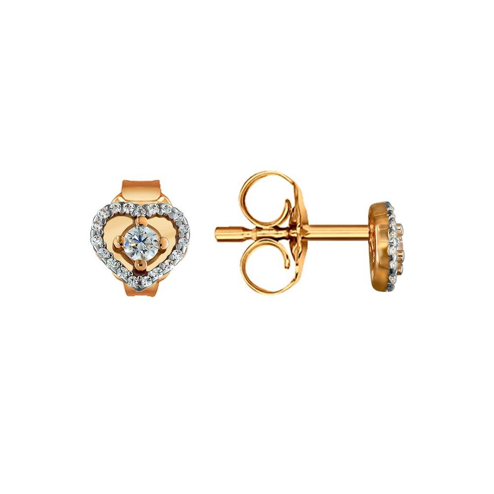 Фото - Серьги-пусеты SOKOLOV из золота с фианитами асимметричные серьги пусеты sokolov из золота