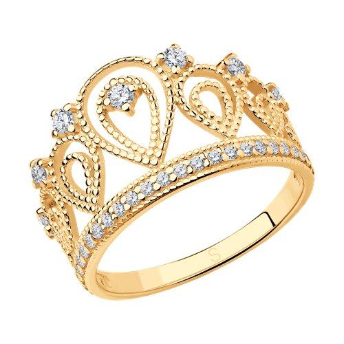 Позолоченное кольцо «Корона» SOKOLOV