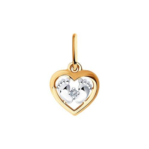 Подвеска из золота с бриллиантом (1030785) - фото