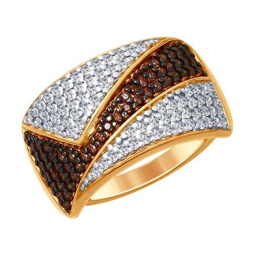 Кольцо из золочёного серебра с бесцветными и коричневыми фианитами (93010687) - фото