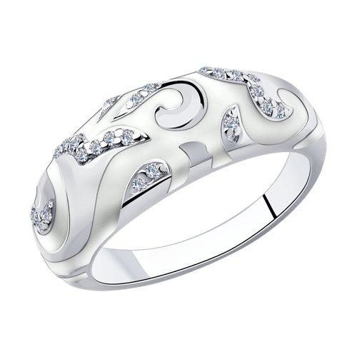 Кольцо из серебра с эмалью с фианитами (94010399) - фото