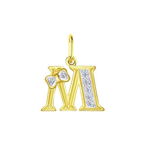 Подвеска буква М из желтого золота с фианитами