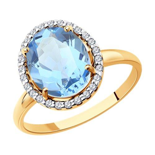 Кольцо из золота с топазом и фианитами (714967) - фото