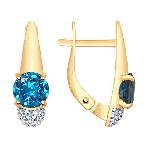 Серьги из золота с синими топазами и фианитами (37725368) - фото