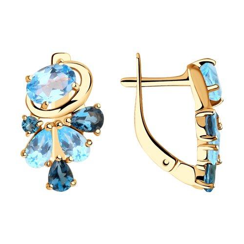 Серьги из золота с голубыми и синими топазами (725878) - фото