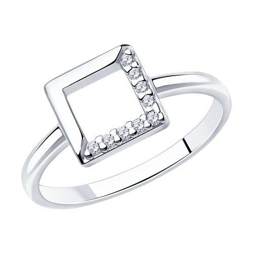 Кольцо из серебра с фианитами (94012741) - фото