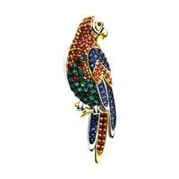 Брошь из серебра «Попугай»