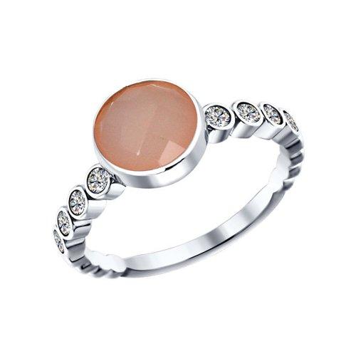 Кольцо из серебра с розовым агатом и фианитами
