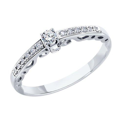 Кольцо из белого золота с бриллиантами (1011790) - фото