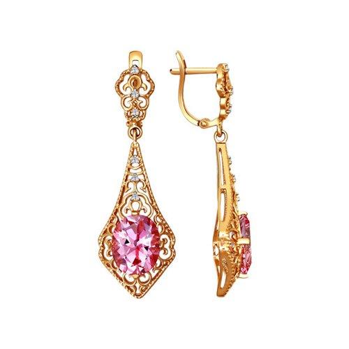 Длинные серьги с розовым камнем SOKOLOV