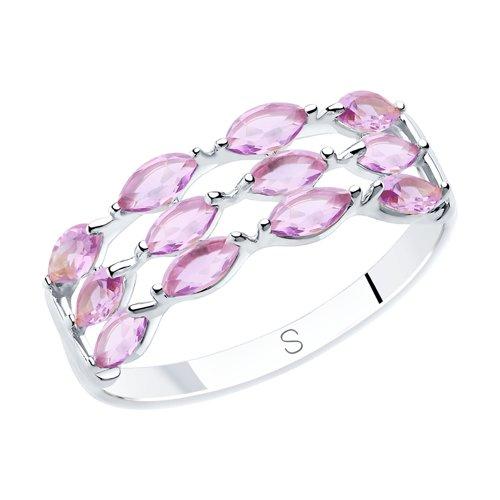 Кольцо из серебра с аметистами (92011878) - фото