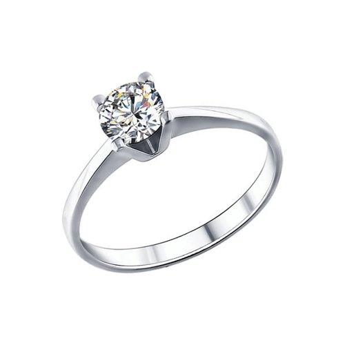 Белое помолвочное кольцо SOKOLOV