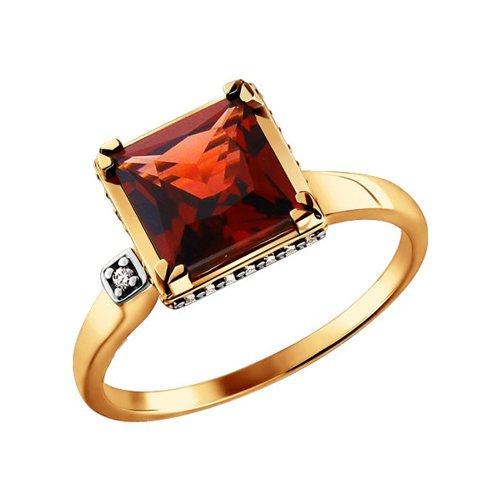 Золотое кольцо с гранатом и фианитами SOKOLOV золотое кольцо ювелирное изделие 01k684711ul