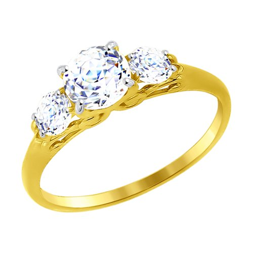 Кольцо из желтого золота со Swarovski Zirconia (81010256-2) - фото