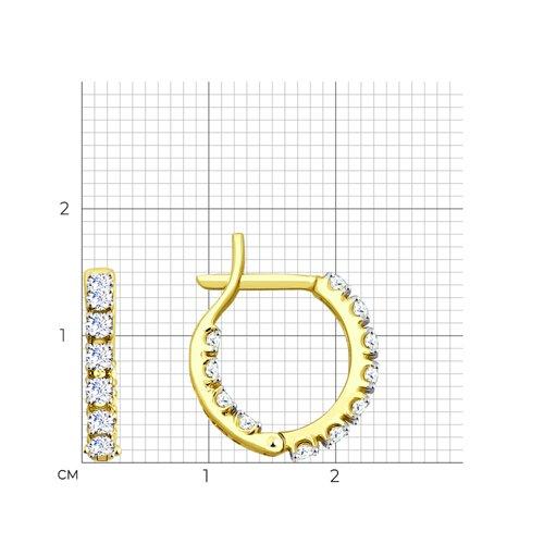 Серьги из желтого золота с фианитами (027654-2) - фото №2