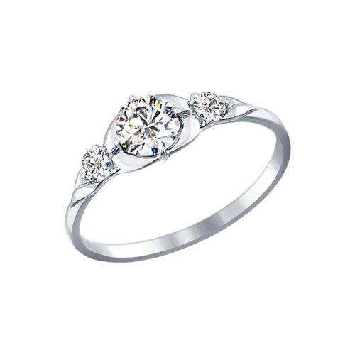 Помолвочное кольцо из белого золота со Swarovski Zirconia (81010189) - фото