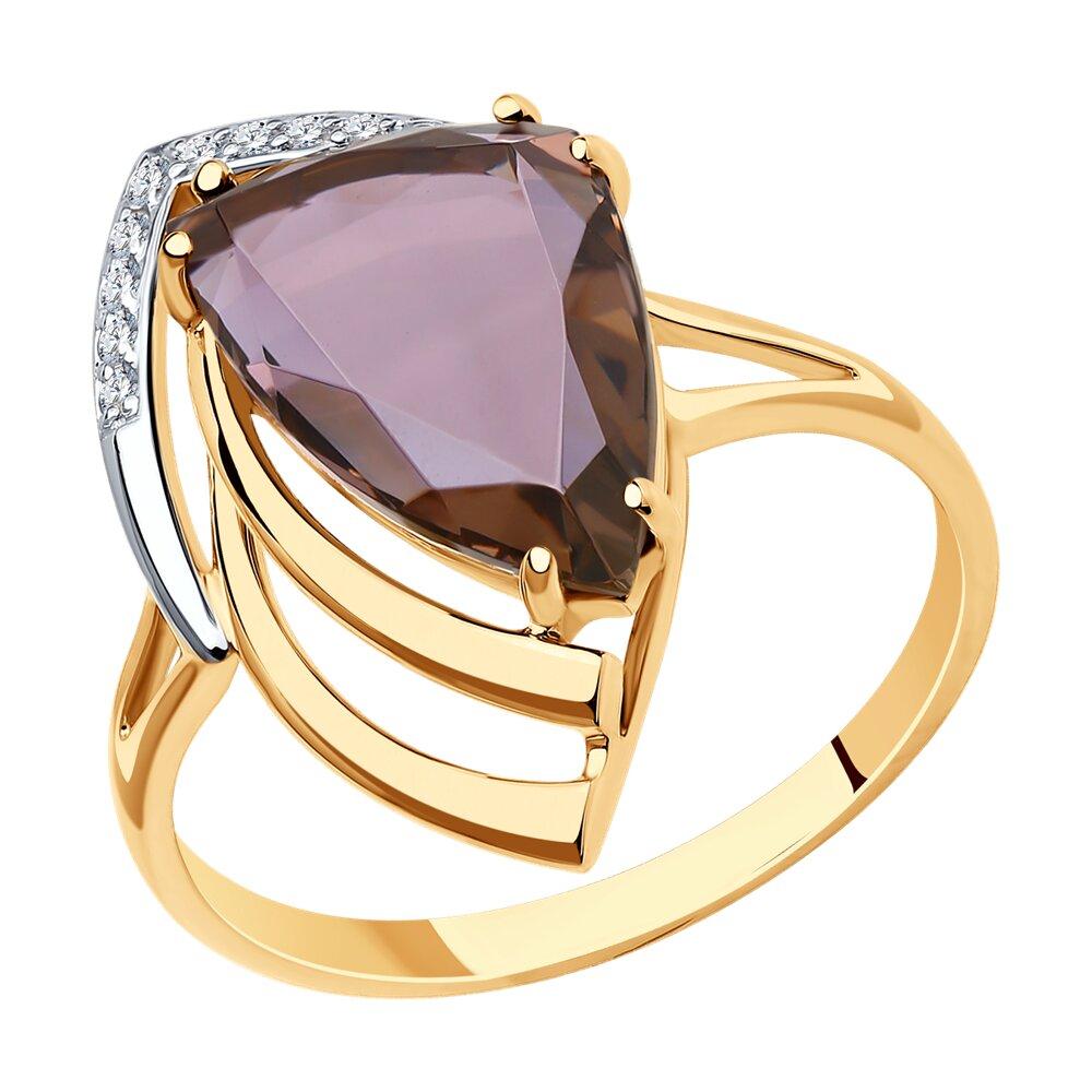 Кольцо SOKOLOV из золота с ситалом синтетическим и фианитами фото
