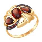 Кольцо из золота с гранатами и красными фианитами