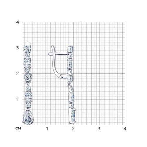 Серьги из серебра с фианитами (94021709) - фото №2