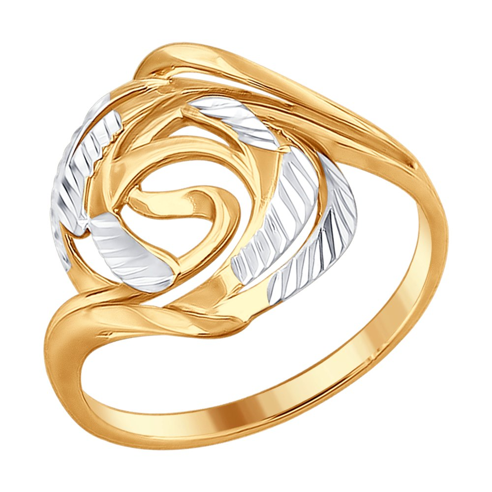Кольцо SOKOLOV из золочёного серебра с алмазной гранью обручальное кольцо sokolov из золочёного серебра с алмазной гранью