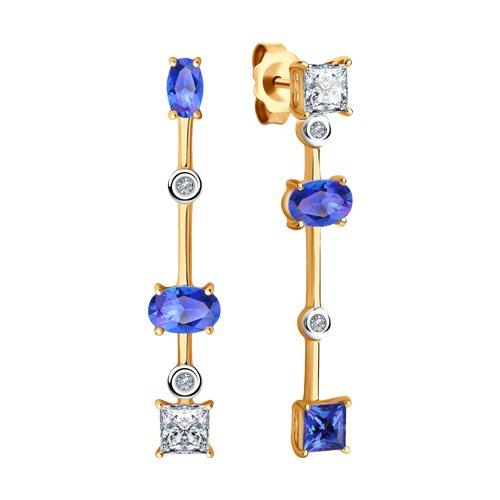 Серьги из золота с искусственно выращенными бриллиантами и топазами Сваровски