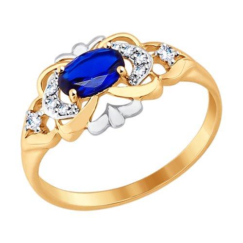 Кольцо из золота с бесцветными и синим фианитами (017511) - фото