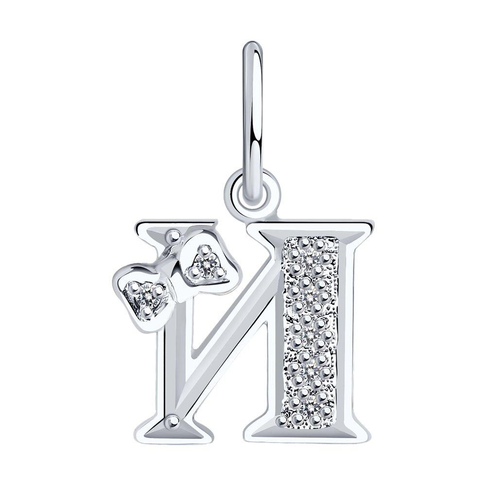Серебряная подвеска с буквой «И» SOKOLOV позолоченная подвеска с буквой а sokolov