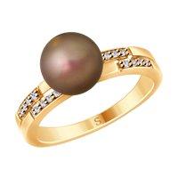Кольцо из золочёного серебра с коричневым жемчугом Swarovski и фианитами