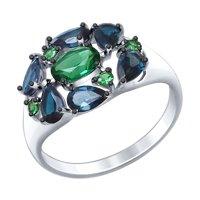 Кольцо из серебра с синими топазами и зелеными ситаллами