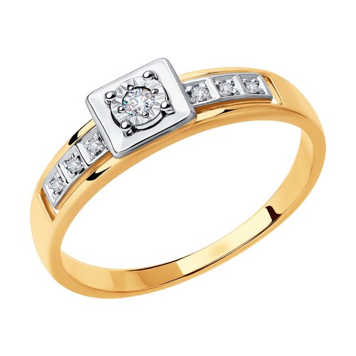 Кольцо из комбинированного золота с бриллиантами (1011826) - фото