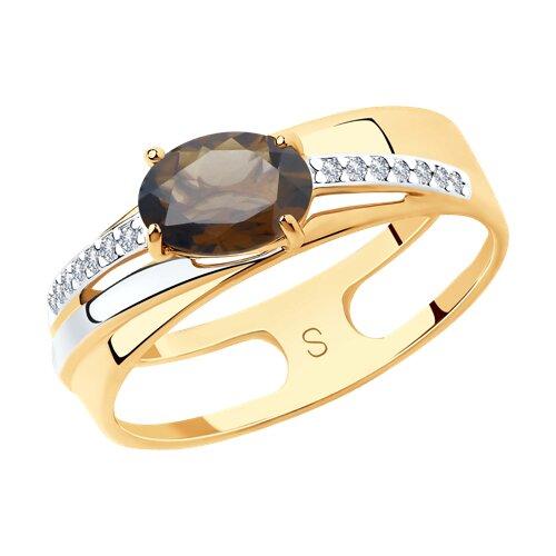 Кольцо из золота с раухтопазом и фианитами (715631) - фото
