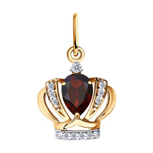 Подвеска«Корона» из золота с гранатом и фианитами