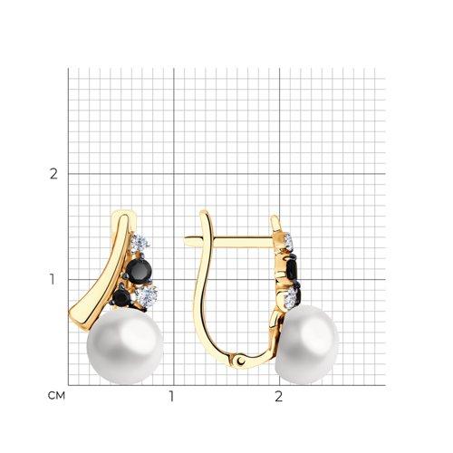 Серьги из золота с жемчугом и фианитами 792189 SOKOLOV фото 2