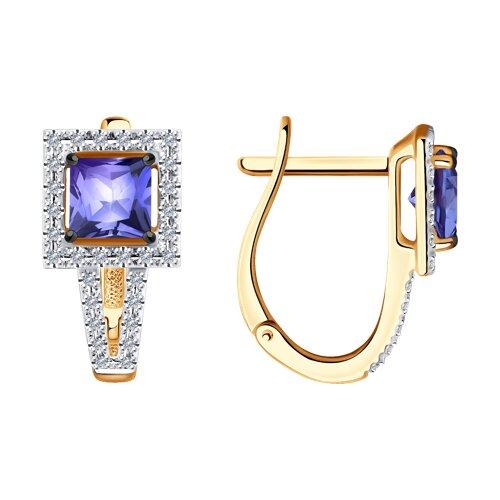 Серьги из золота с бриллиантами и танзанитом