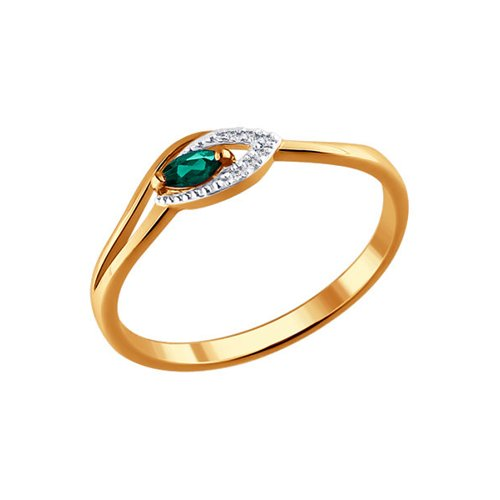Кольцо из золота с бриллиантами и изумрудом (3010515) - фото