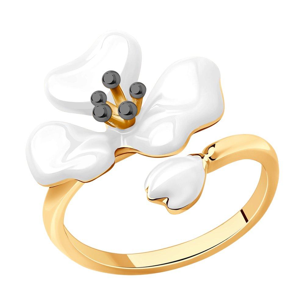 Фото - Кольцо SOKOLOV из золочёного серебра с эмалью оберег sokolov из золочёного серебра с эмалью