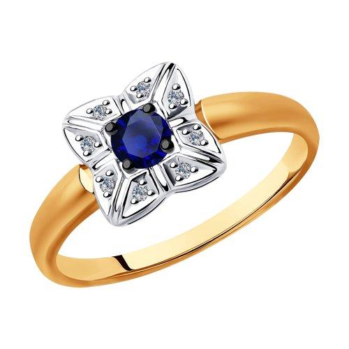 Кольцо из золота с бриллиантами и синими корундами (6012142) - фото