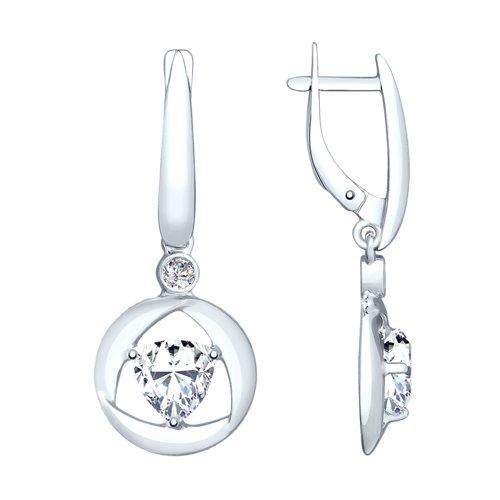Серьги из серебра с фианитами (94023240) - фото