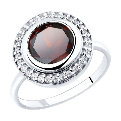 Кольцо из серебра с гранатом и фианитами (92011853) - фото